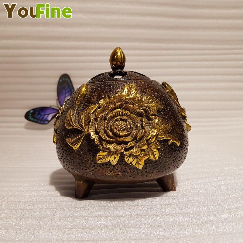 Vintage chinois bronze laiton brûleur d'encens haute qualité maison intérieur petit brûleur d'encens décoration bijoux