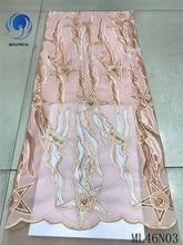 BEAUTIFICAL lace dress material 2019 african fabric handmade beaded guangzhou free shipping 5yards/lot ML46N03