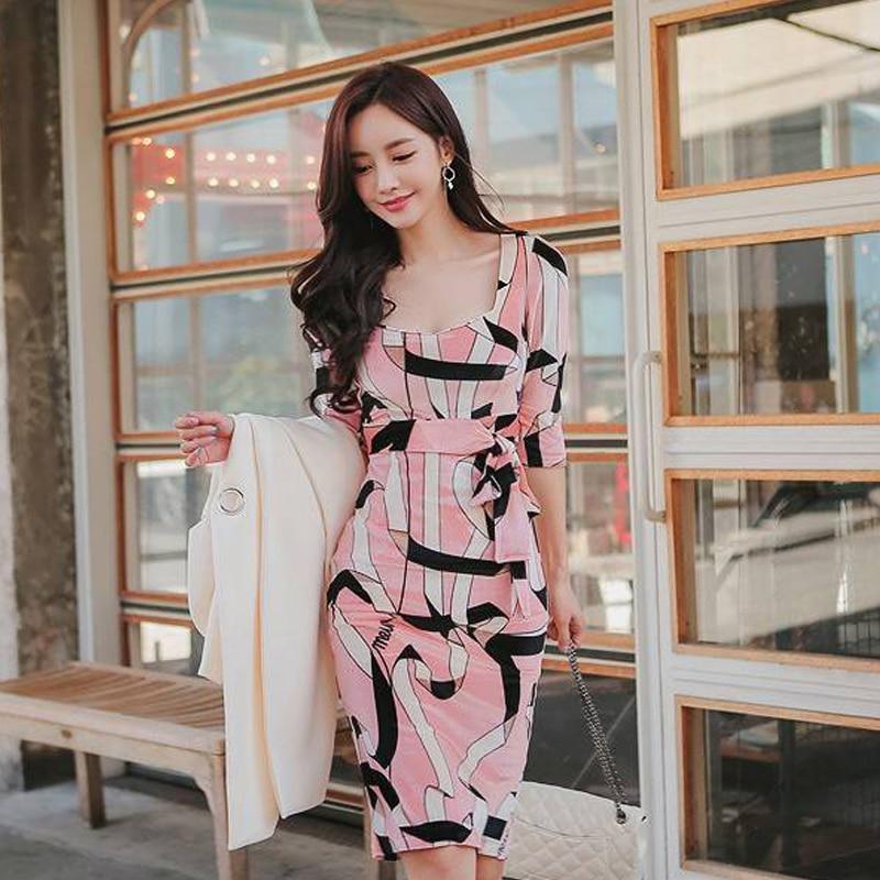 2019 Korean version of the new OL temperament long section Slim print pockets hip seven-point sleeve fashion dress