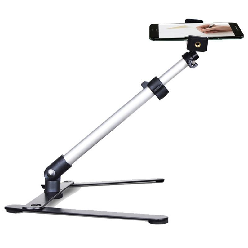 Wilskrachtig Fotografie Verstelbare Tafel Top Stand Set Mini Monopod + Telefoon Clip Fill-in Licht Bluetooth Controle