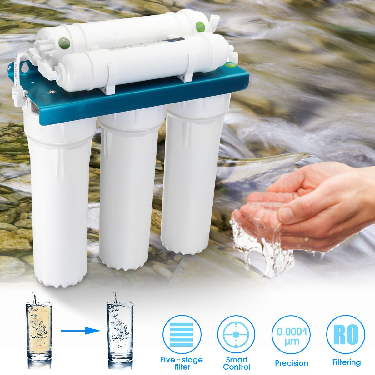 5  Ultrafiltration Filter Water Purifier Home Kitchen Straight Drinking PP Cotton Coconut Shell Wall-mounted ABS Shell