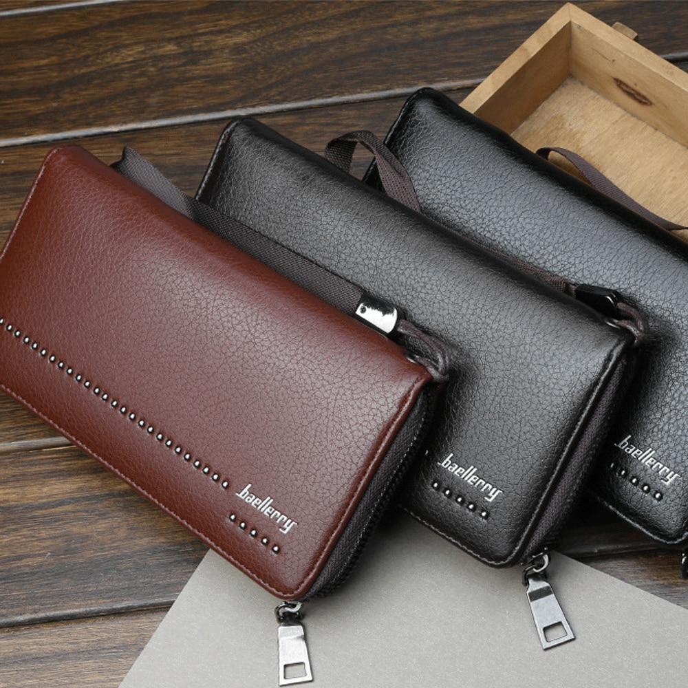 Men's Bifold Leather Multi Credit Card Holder Checkbook Purse Long Wallet Clutch Black Brown Coffee