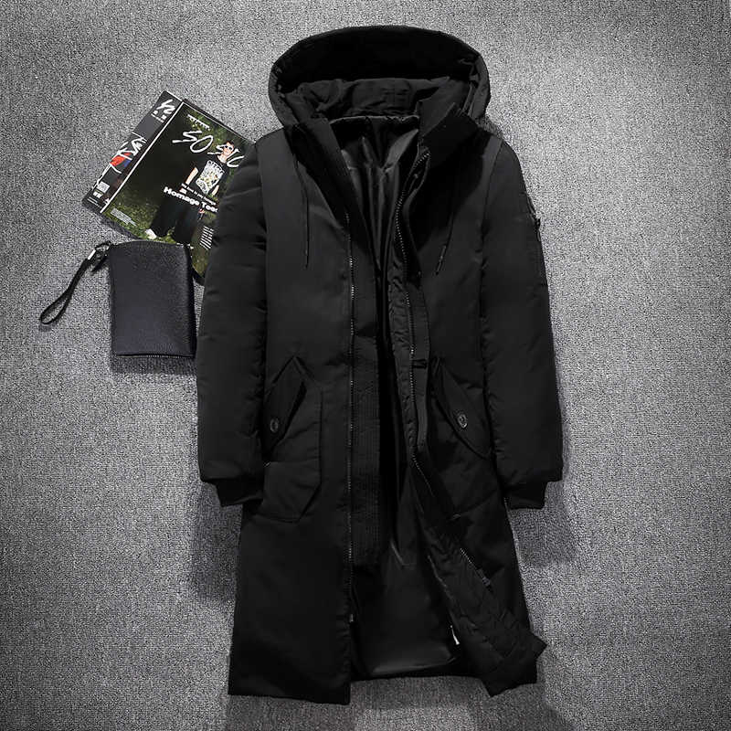 d74555fe920 Mens Hooded Extra Long Duck Down Padded Jackets Man Thick Winter Down Coats  Male Fashion Long