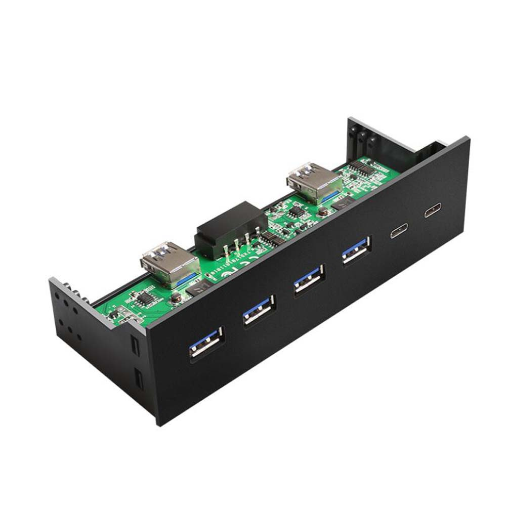 Type-C 4 Port USB 3.0 Hub 2 Port USB 3.1 To 19 Pin Front Panel For Computer Desktop Connector Adapter  Floppy Bay