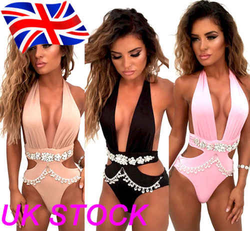 Wanita Kristal Swimsuit Push Up Empuk Bikini Swimwear Mandi One Piece Monokini
