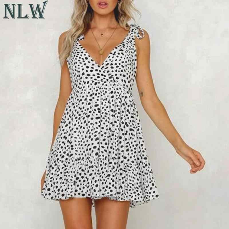 NLW femmes mode blanc Dot Bow sangle col en V robe courte 2019 été Sexy dos nu taille haute Mini robe femme vacances robe d'été