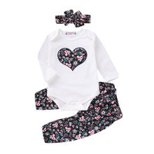 Casual Clothes 3PCS Newborn Baby Girl Sets Top Romper Floral Pants Headbands 3pcs Outfits Set 0-24M