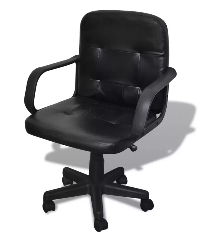 Vidaxl Black Mixed Leather Office Chair Lift Chair Comfortable Seat With Back Support Simple Design Rotatable Executive ChairVidaxl Black Mixed Leather Office Chair Lift Chair Comfortable Seat With Back Support Simple Design Rotatable Executive Chair