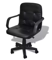 Vidaxl Black Mixed Leather Office Chair Lift Chair Comfortable Seat With Back Support Simple Design Rotatable Executive Chair