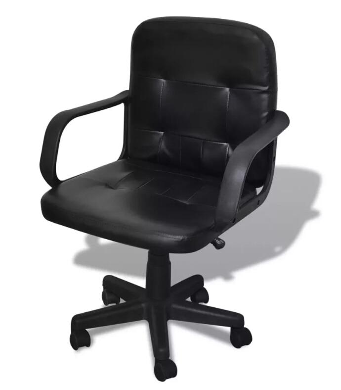 Vidaxl noir cuir mixte chaise de bureau chaise relevable siège confortable avec Support arrière Design Simple rotatif fauteuil de direction
