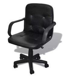 Vidaxl siyah karışık deri ofis koltuğu asansör sandalye rahat koltuk sırt desteği ile basit tasarım döner yönetici koltuğu