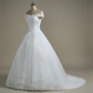 Image 2 - QQ Lover kapalı omuz düğün elbisesi Vestido De Noiva tekne boyun gelin gelinlik