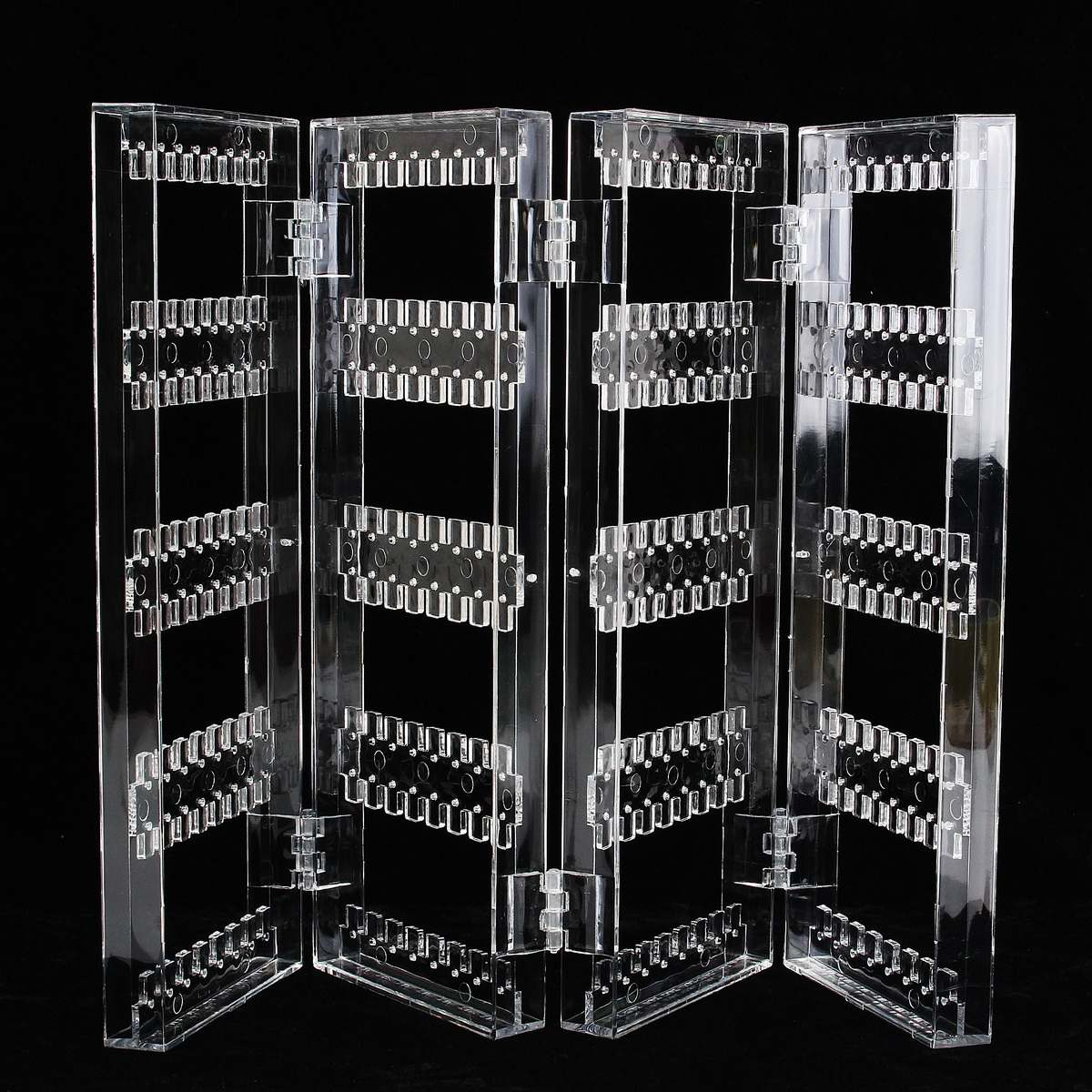 Clear Acrylic Earrings Ear Studs Necklace Display Rack Multifunctional Folding Screen Earring Jewelry Display Stand Holder Box