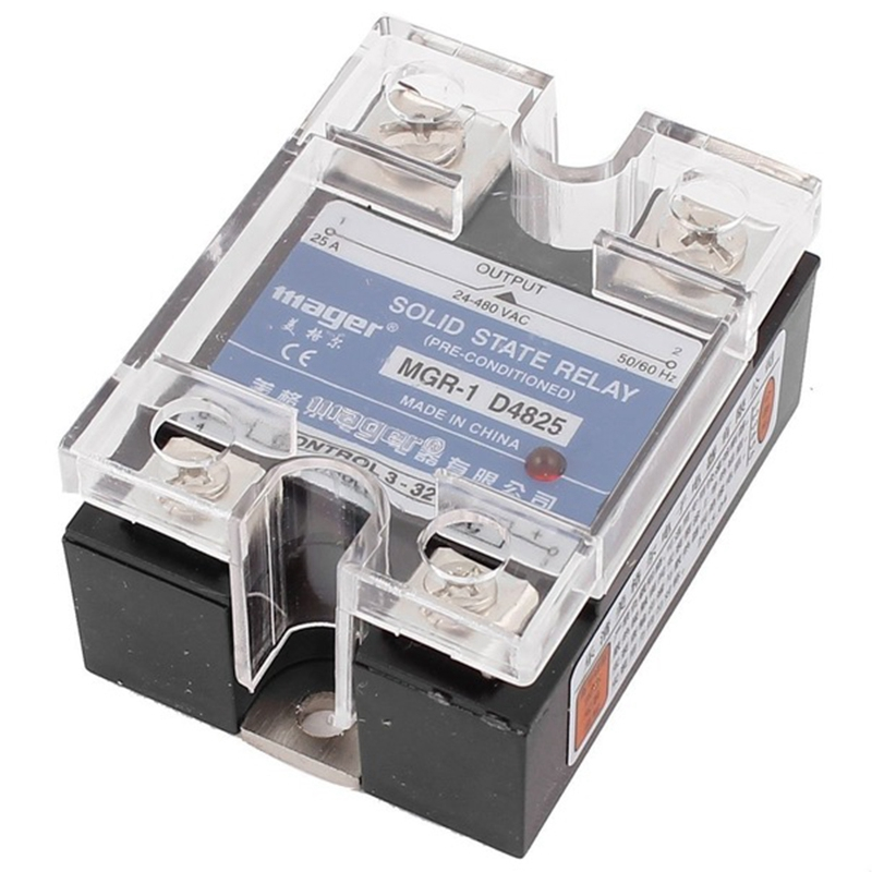 SSR 25A 3-32V DC To 24-480V AC Single Phase Solid State Relay DC Control AC MGR-1 D4825 Load Voltage
