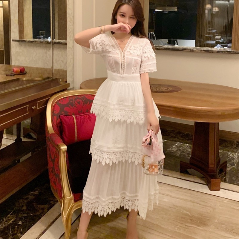 2019 Spring Summer New Women Sexy V Neck White Vintage Long Dress Ladies Short Sleeve Pleated
