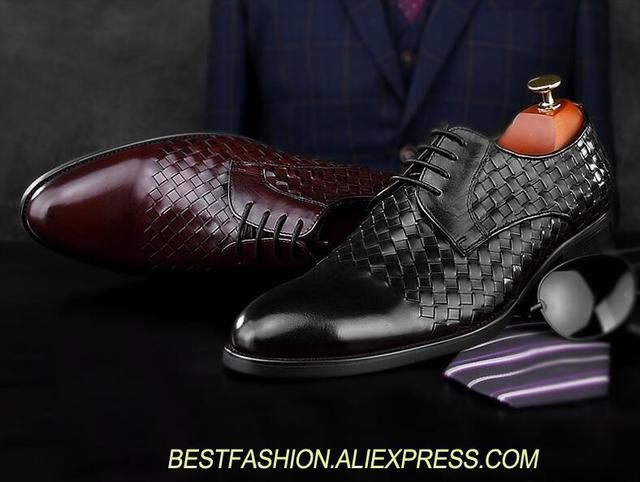 7b1c787ee3ce13 Handmade dress shoes men genuine leather knitting patchwork plaid smart  casual oxfords pointed toes men's wedding derby shoes