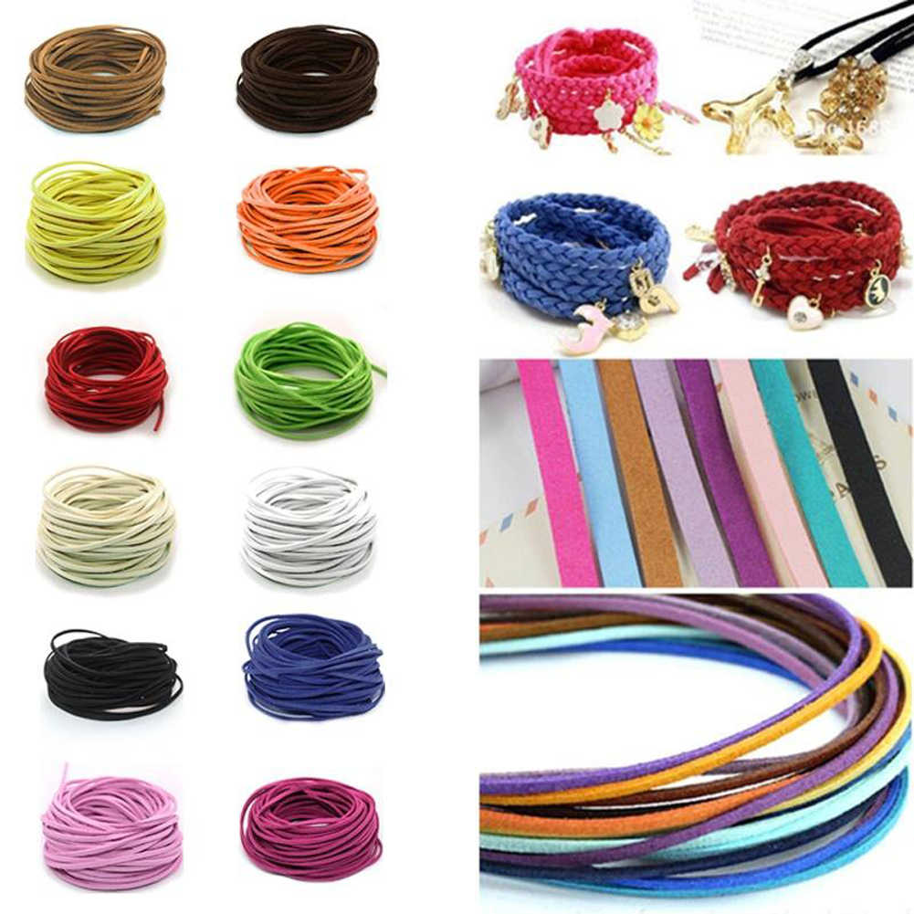 3mm Flat Faux Suede Braided Cord Korean Velvet Leather DIY Handmade Beading Bracelet Jewelry Making Thread String Rope
