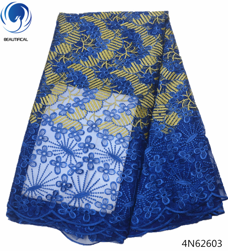 Beautifical tulle lace fabric french bridal lace fabric nigerian lace fabric 2018 embroidery dresses 5yards lot sale cheap 4N626 in Lace from Home Garden