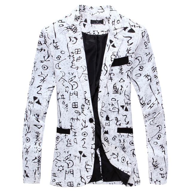 2018 designer Men Clothing Luxury Designer Mens Blazer print Jacket Stylish Fancy Brand floral Males Suits Blazers