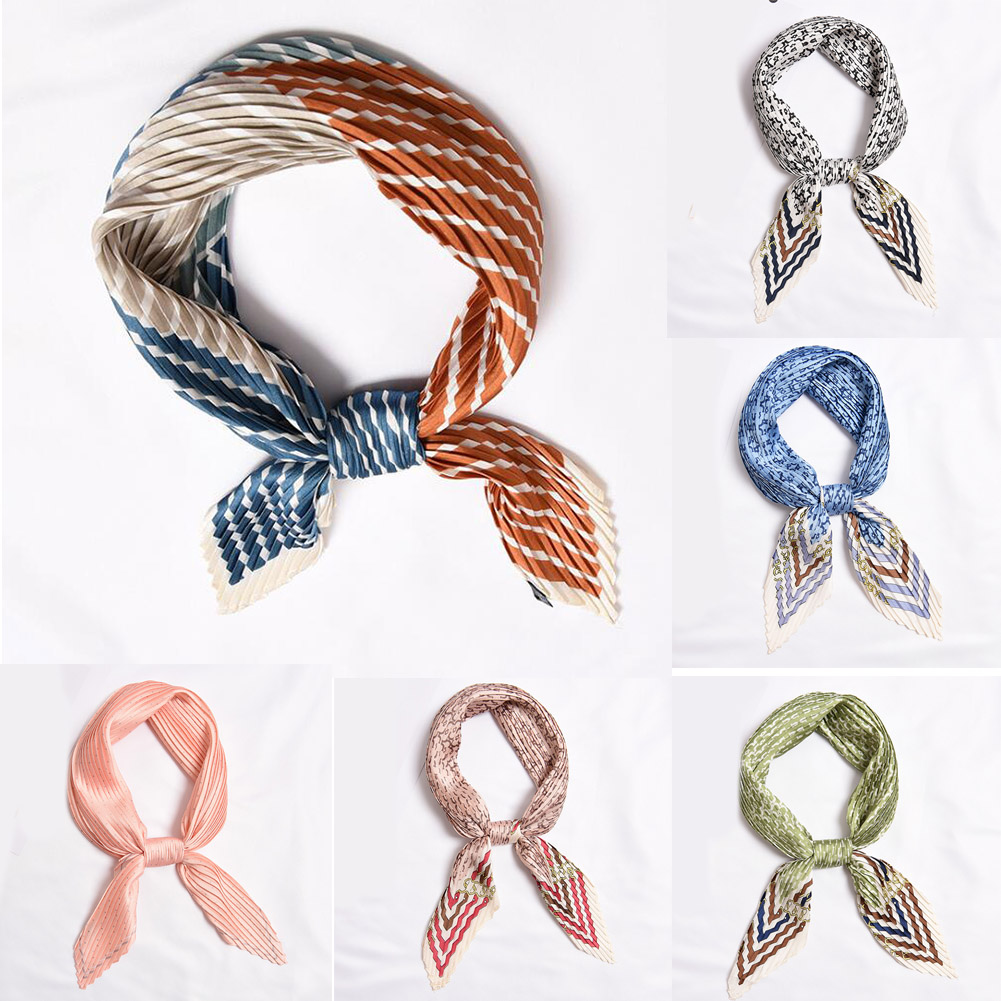 Ladies Square Crinkle Silk Small Neck Scarf Crumple Bandana wear Satin Print Patchwork Female Handkerchief Dot Striped