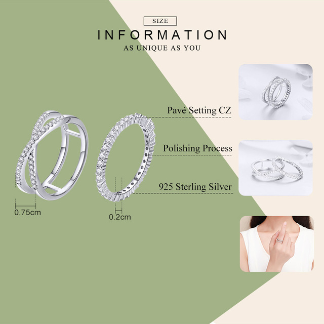 BAMOER 2pcs Authentic 925 Sterling Silver Dazzling CZ Geometric Finger Rings for Women Wedding Engagement Jewelry anel SCR463 1