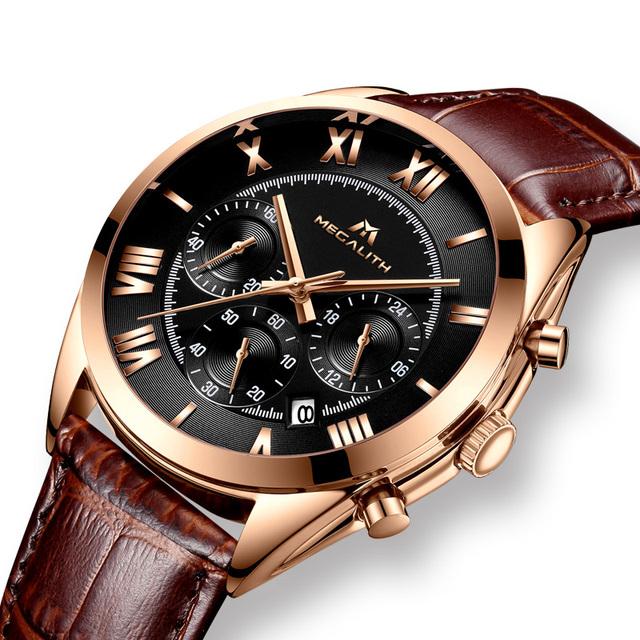MEGALITH Luxury Waterproof Chronograph Quartz Watch Brown Genuine Leather Business Watch Men Date Calendar Man Clock Reloj