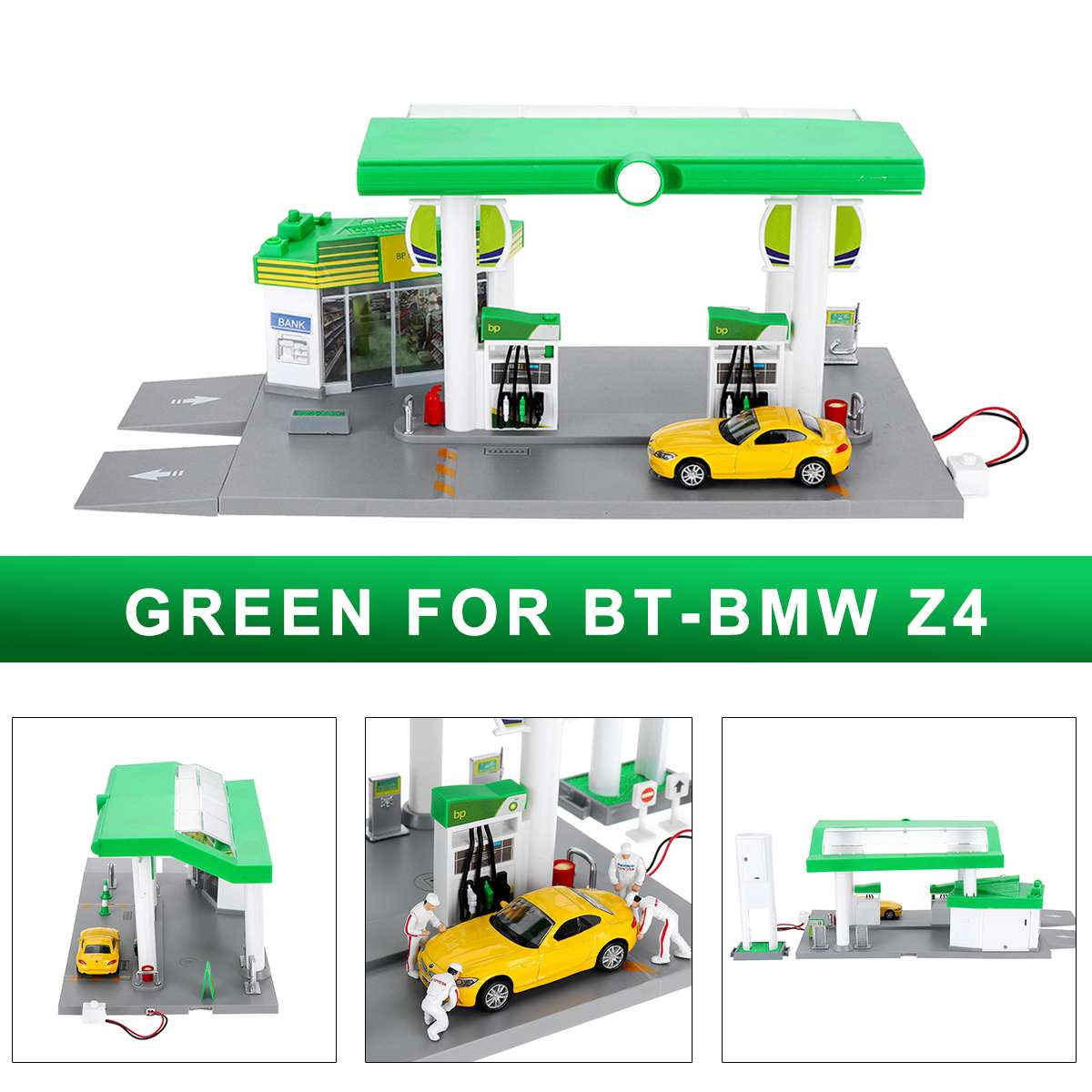 1:64 Scale Gas Station Model Set ABS Plastic For BMW Z4 X6 For Porsche 911 For Mini Valley Pull Back Toys With Light1:64 Scale Gas Station Model Set ABS Plastic For BMW Z4 X6 For Porsche 911 For Mini Valley Pull Back Toys With Light