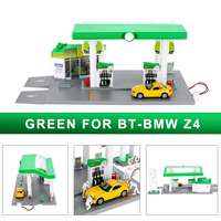 1:64 Scale Gas Station Model Set ABS Plastic For BMW Z4 X6 For Porsche 911 For Mini Valley Pull Back Toys With Light