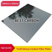 200 мм x 250 мм твил Глянцевая пластина из углеродного волокна, ламинированная пластина, жесткая пластина, автомобильная доска, rc плоская тарелка