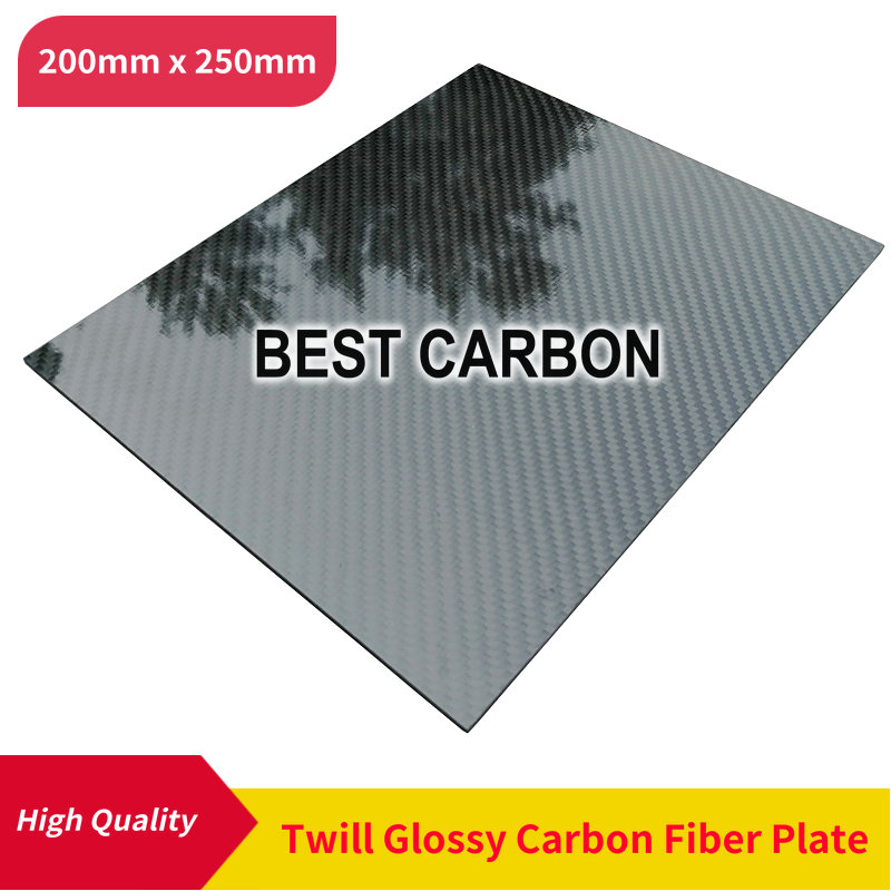 Free Shipping 200mm X 250mm 100% Twill Glossy Carbon Fiber Plate, Laminate Plate, Rigid Plate , Car Board , Rc Plane Plate