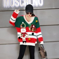 Christmas Snow Man Striped Sequins Party Long Knitted Sweater Winter Women Warm Red Long Sleeve Loose Pullover Tops