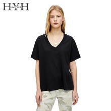 HYH Haoyihui 2019 Simple Fashion Basic Section Top Leisure Commuting Sexy V-neck Solid Color Short Sleeve new arrival shirt