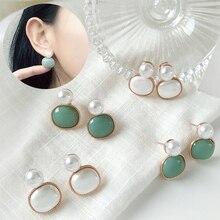 цены Trendy glass crystal earrings white green elegant small pearl oval geometric earrings for women engagement party jewelry