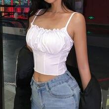 Сексуальный укороченный Топ для женщин, без рукавов, тонкий тощий Топ без косточек, Бюстье Топ, летняя уличная одежда, короткая футболка, топ, рубашка