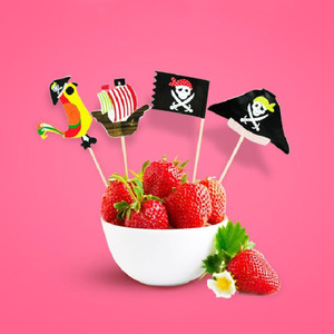 40pcs Topers Food-Grade Pirate Theme Unique Design Cake Picks Ornamnets Cake Insert Card For Party Birthday Party Decoration(China)