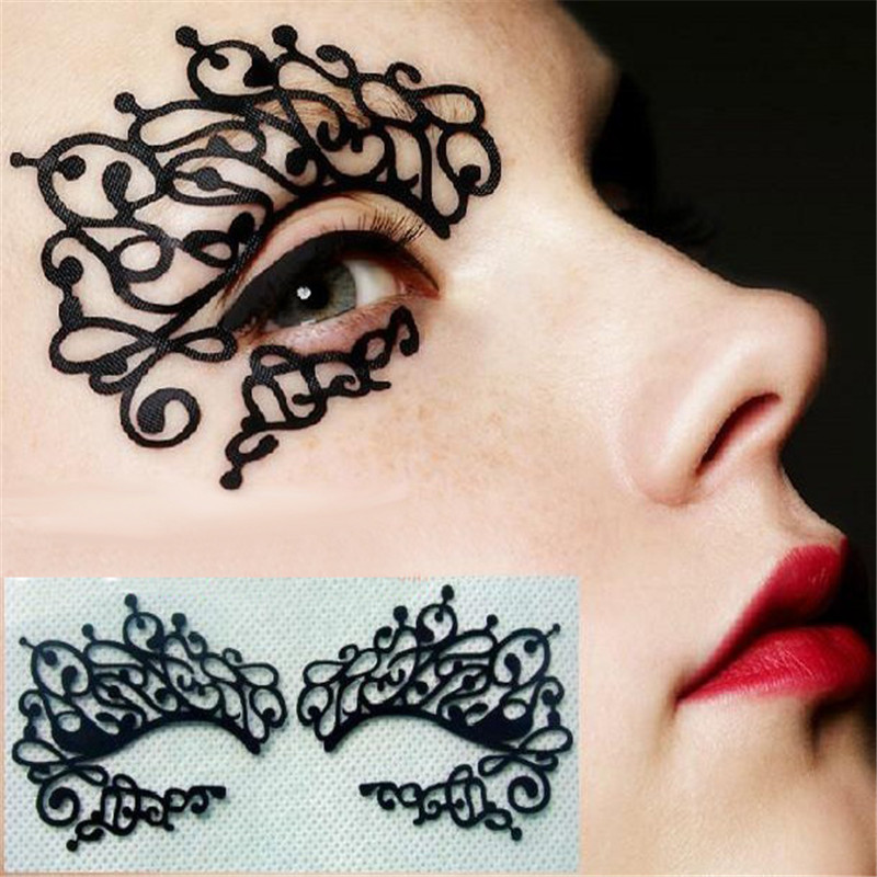 Luckfine Halloween Eye Liner Sticker Lace Fretwork Papercut Face Tattoo Temporary Eye Mask Makeup Tools For Costume Party Gift