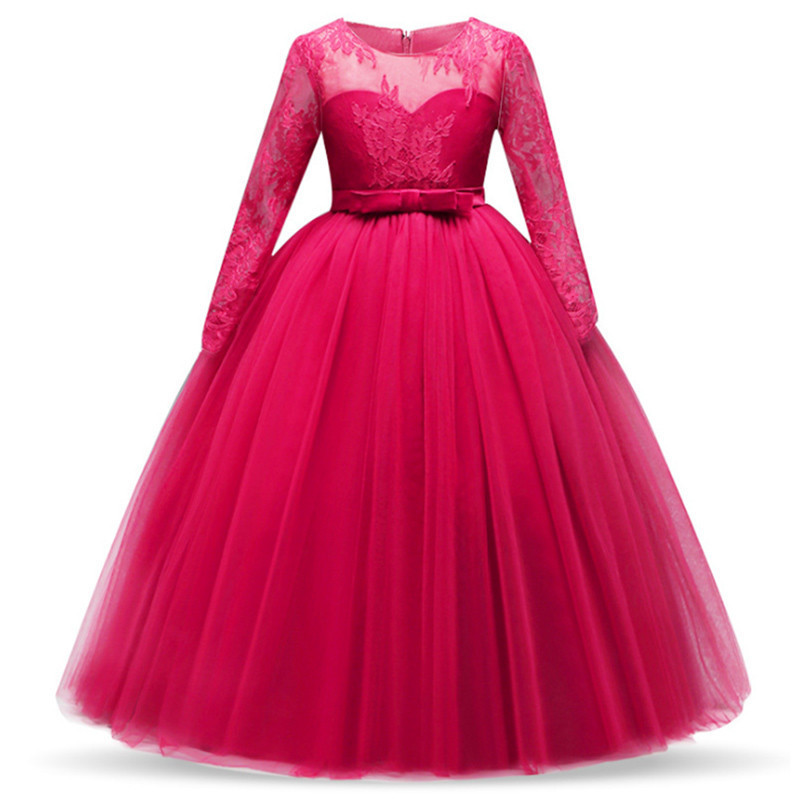 Elegant Princess Lace Dress Kids Flower Embroidery Dresses For Girls Vintage Children Dresses For Christmas Party Red Ball Gown in Dresses from Mother Kids