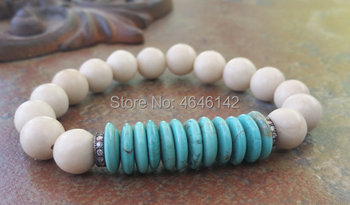 CZ Micro Pave Ball Bracelets RiverStone Roundel Howlite Turquoises Beads Bracelet