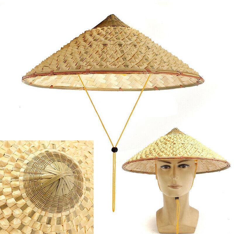 NEW-Vietnamese Japanese Coolie Straw Bamboo Cone Sun Hat Garden Farmer Fishing