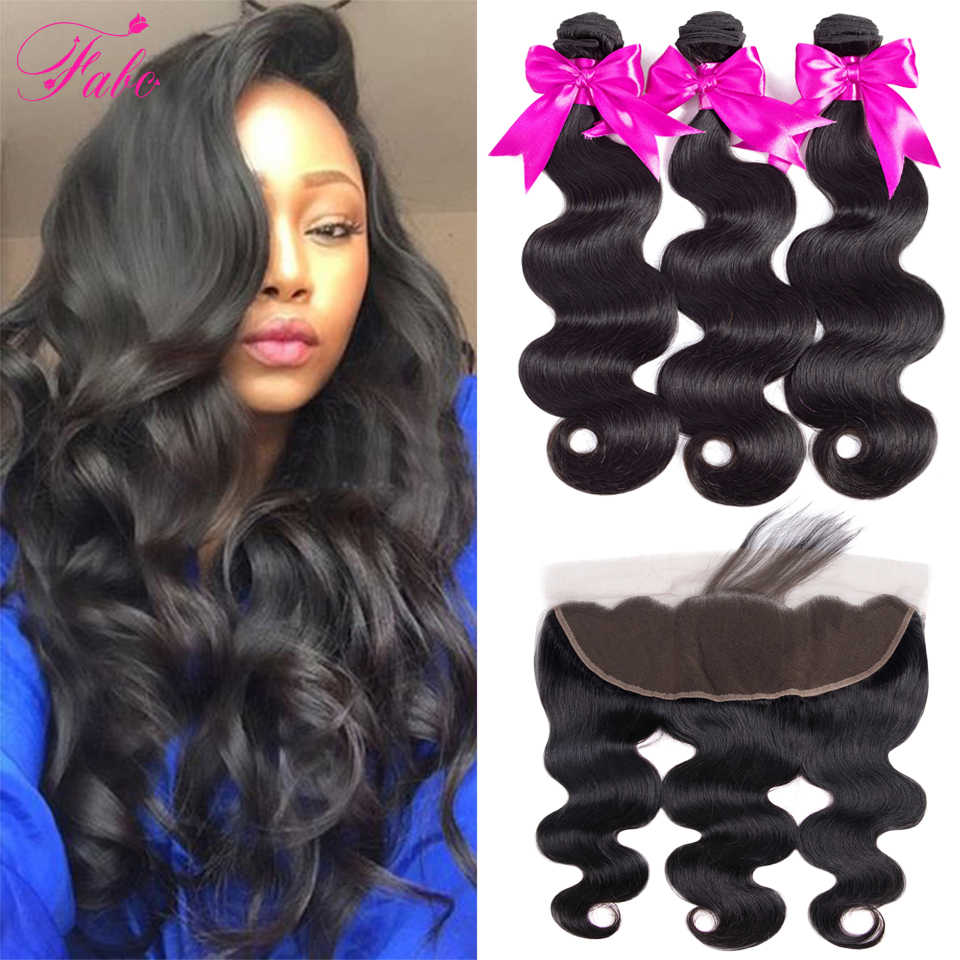 Fabc Hair Brazilian Body Wave 3 Bundles With Frontal Human Hair Weave Bundles 13x4 Lace Frontal With Bundles Free Part Non Remy