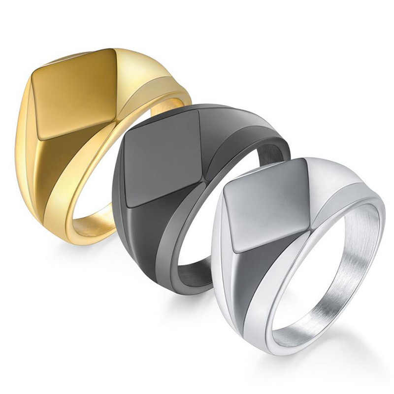Simple Square Stainless Steel Ring Men Width Signet Polished Finger Statement Ring Jewelry Size 7-12 Black/Gold/Silver Color