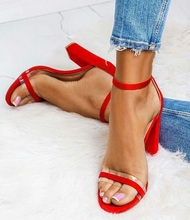 2019 Summer Sexy Women Sandals Gladiator Peep Toe Transparent Red Satin Buckle Strap Dress Shoes