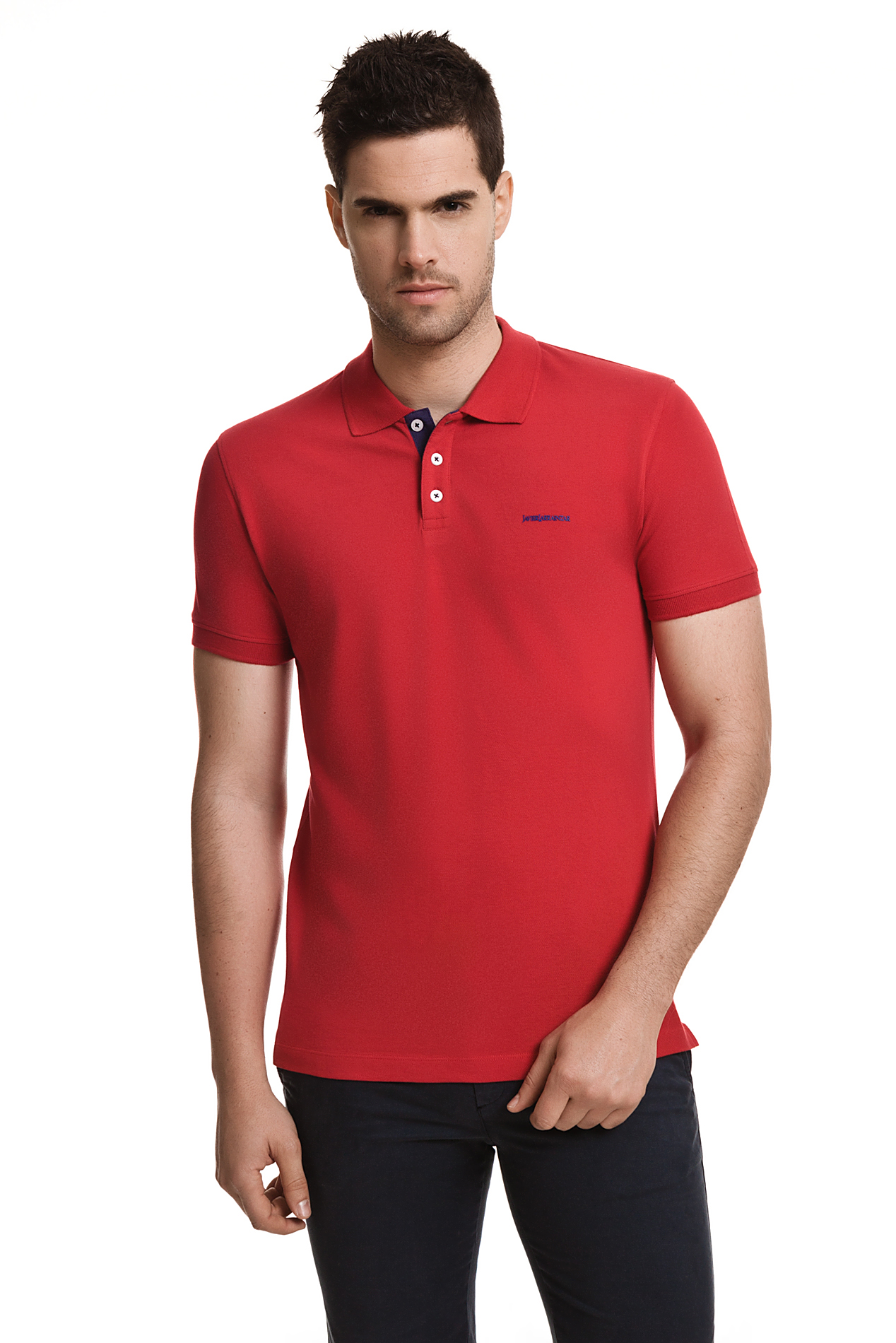 Javier Larrainzar Casual Polo Shirt For Men Short Sleeve Piqué Red Color T-Shirt  Male Clothing Man Brand Cotton JL0000290