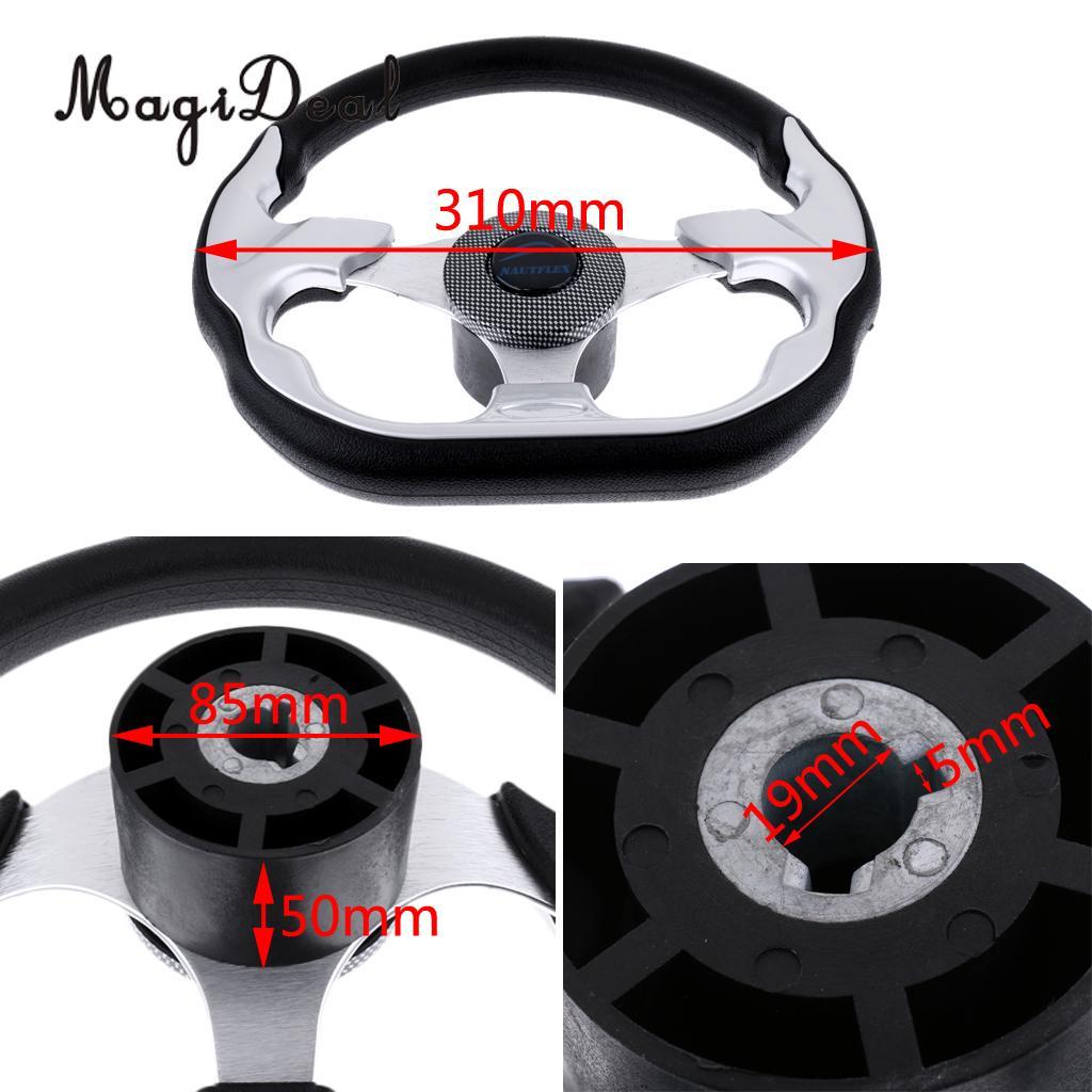 MagiDeal 310 360mm Aluminum Alloy D Shape Marine Boat Steering Wheel 3 4 Key Way Tapered