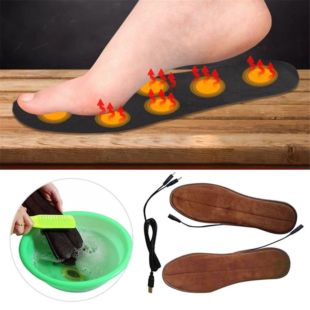 USB Electric Powered Plush Fur Heating Insoles Winter Keep Warm Foot Shoes Insole Foot Pads Heated Insole Dropship