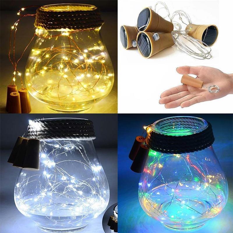 10 LED Solar String Lights Solar Powered Wine Bottle Cork Shaped LED Copper Wire String Lights Christmas Fairy Light