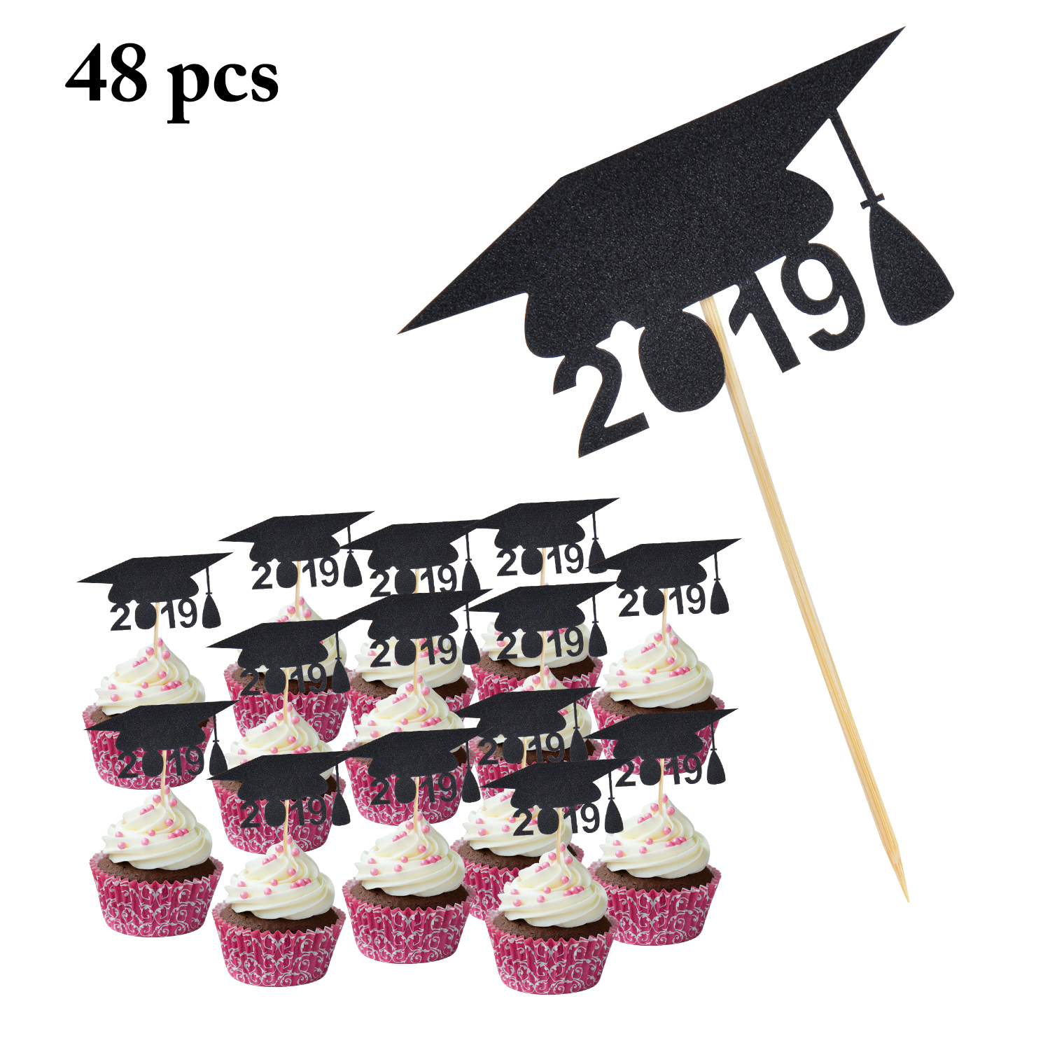 48PCS Birthday Cake Topper 2019 Doctorial Hat Cupcake Topper Cake Decoration For Party