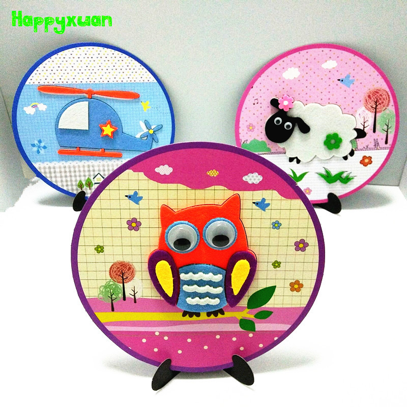 Happyxuan 6pcs DIY Felt Fabric Craft Kit 3D Animal Games Children Creative Kindergarten Early Educational Learning Toys New 2019