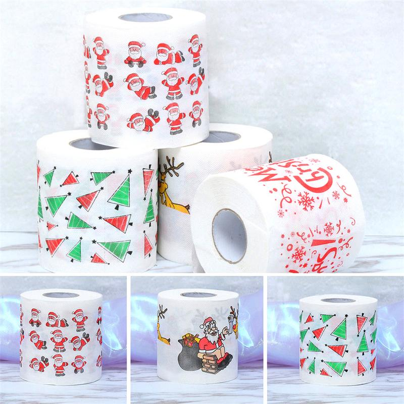 Image 5 - 4 Colors Christmas Printing Paper Toilet Tissues Novelty Roll Toilet Paper Christmas Decoration For Home Wholesale-in Party DIY Decorations from Home & Garden
