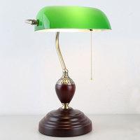 ArtPad 에메랄드 그린 뱅크 램프 골동품 중국어 라이트 레드 솔리드베이스 클래식 테이블 램프 연구 거실 침실 장식